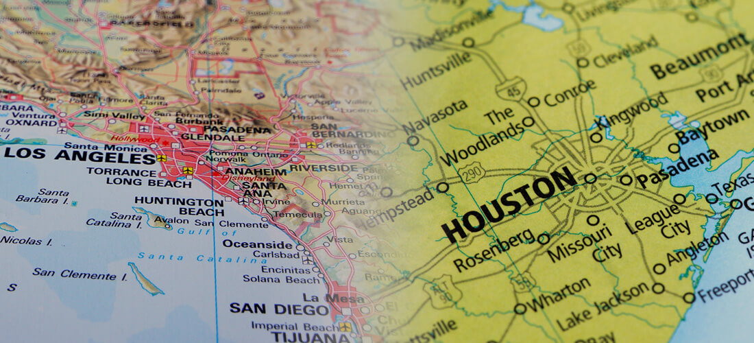 Split map image of Southern California and Houston, Texas